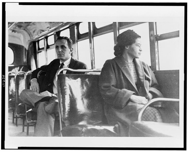 Rosa Parks on Bus in Montgomery, Alabama - 1956