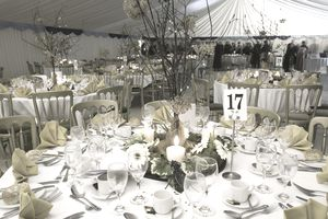 Tables set for a gala charity event.