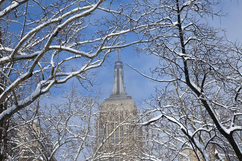 Empire State Building in winter