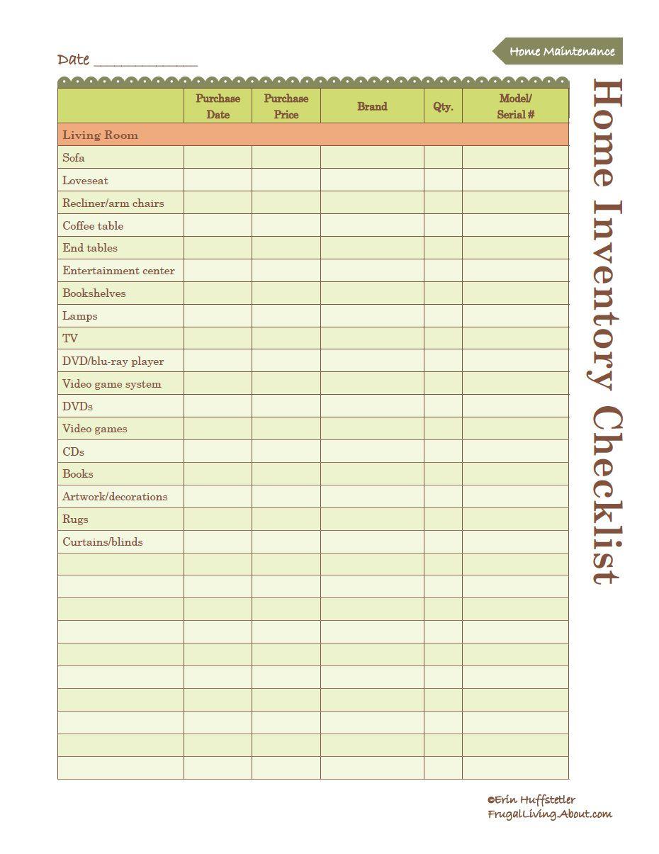 printable home inventory list. Black Bedroom Furniture Sets. Home Design Ideas