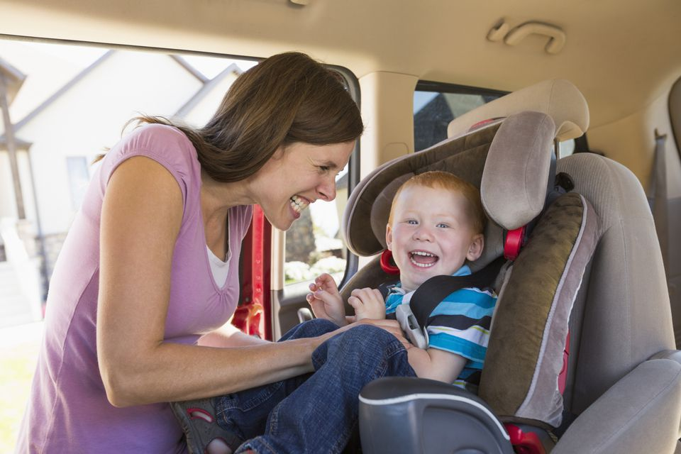 Mom and Toddler with Combination Car Seat