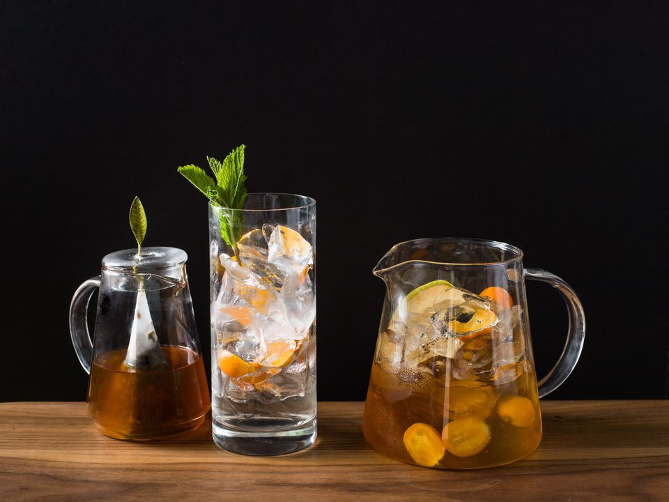 Iced Tea Steeping, in Glass, and in a Pitcher