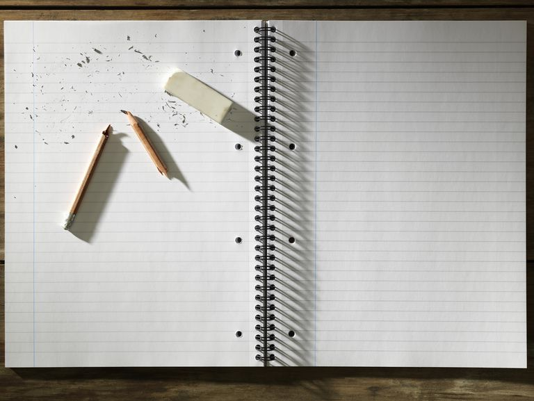 Blank pad of paper eraser and broken pencil