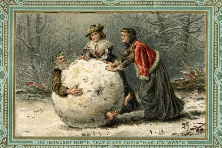 Two women rolling Father Christmas in a snowball, 19th century card