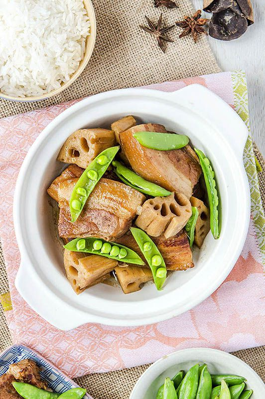 Chinese red cook pork with lotus root