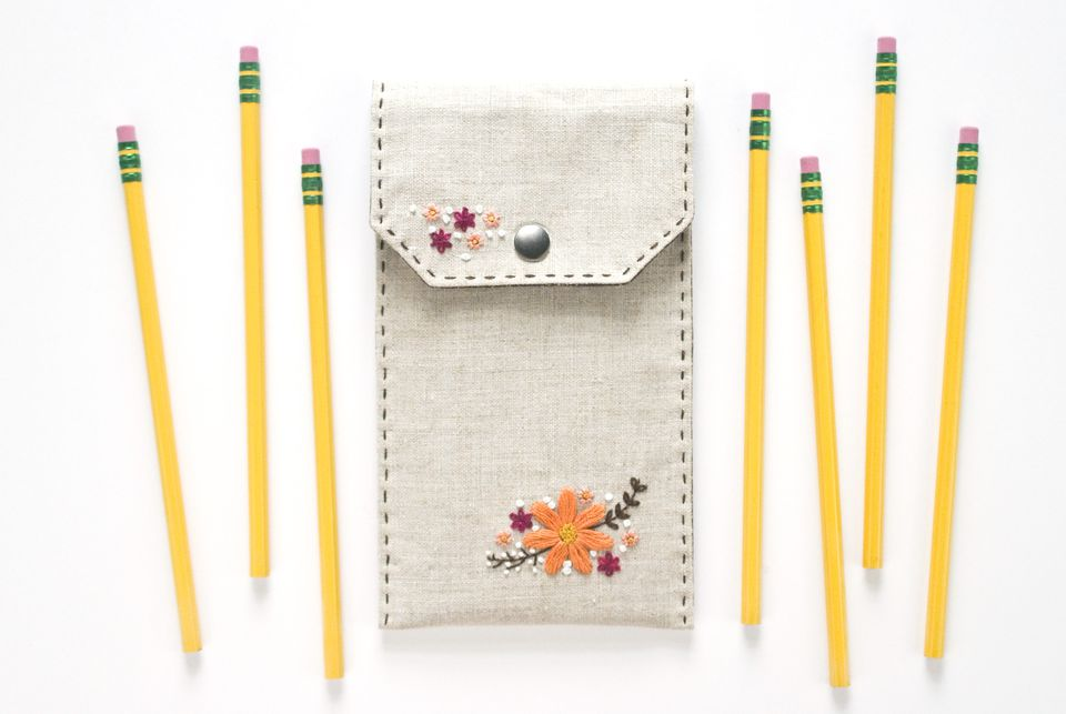DIY Embroidered Floral Pencil Case