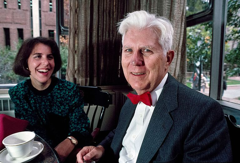 Dr Beck & Beck At Lunch Portrait of psychiatrist and professor Dr Aaron Beck as he sits with his daughter, Dr Judith S Beck, during a meal, Philadelphia, Pennsylvania, 1994.
