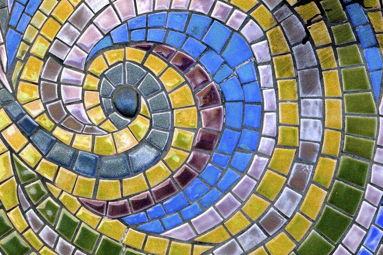 Mosaic Tile Forming a Fibonacci Type Spiral
