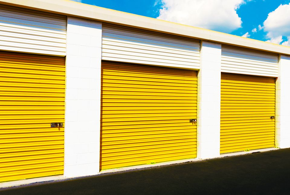Row of yellow storage lockers