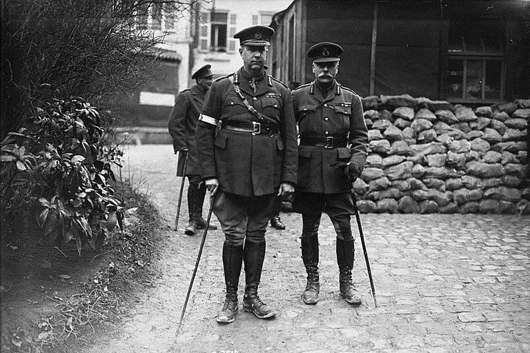Sir Arthur Currie (L) With Sir Douglas Haig in 1918