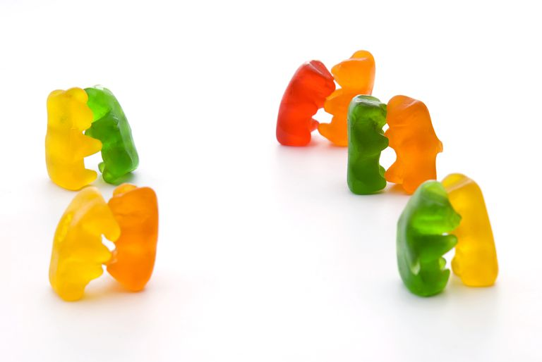 In the chemical reaction, the Gummi (Gummy) Bears dance in a flame, not with each other.