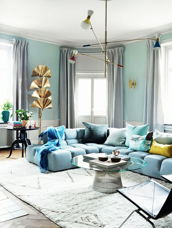 cool colors for living room. Cool Color Blocking  light blue living room glamour 15 Beautiful Blue Rooms
