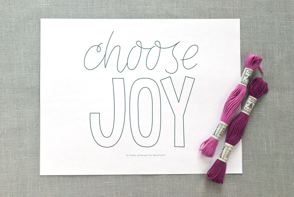 Choose Joy Embroidery Pattern