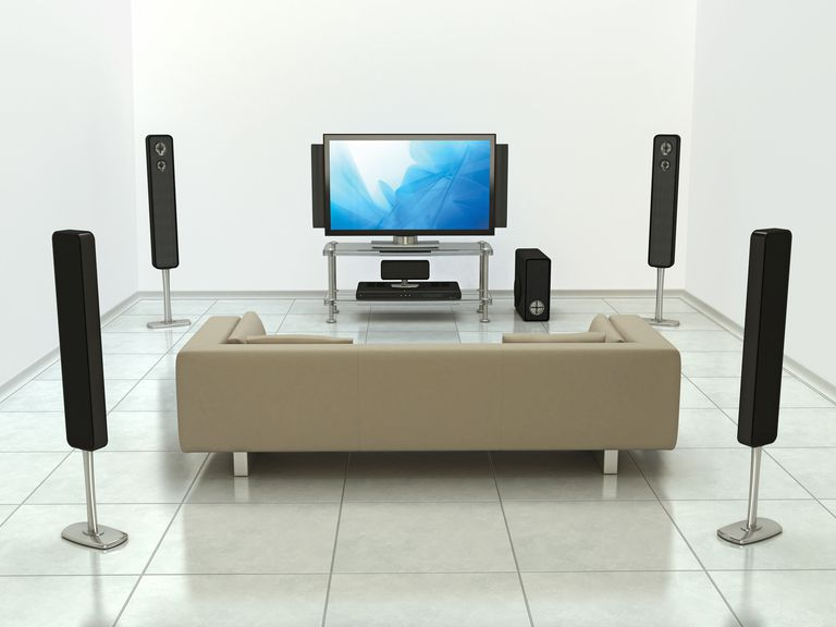 A complete cinema room with a 5.1 surround sound system, including LCD TV and DVD player in front of a couch