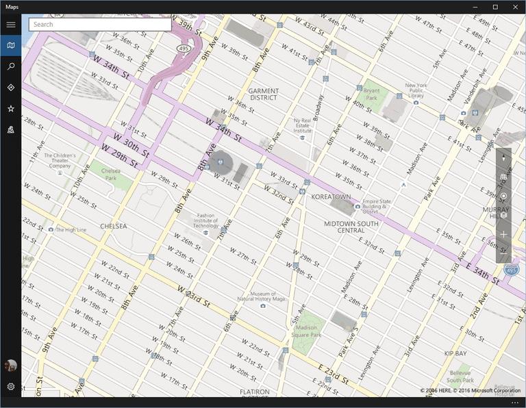 Windows 10 Maps app screenshot