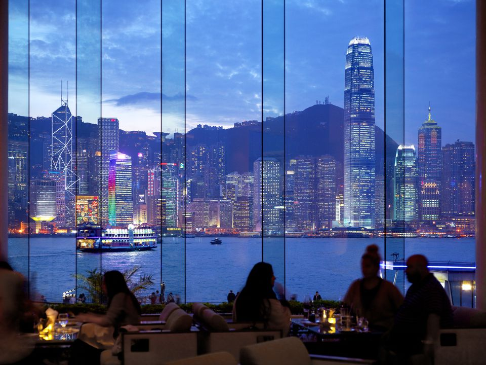 The skyline from inside of a Hong Kong hotel.