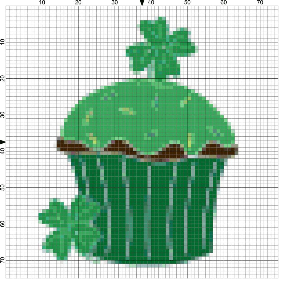 green cupcake needlepoint chart
