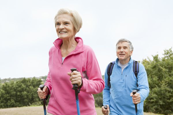 Senior Couple With Trekking Poles