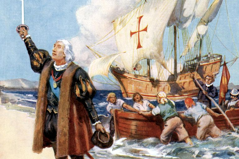 A painting of Christopher Columbus landing in America, 1492 (c.1920)