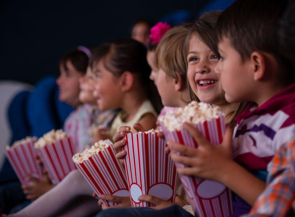 Kids watching a movie