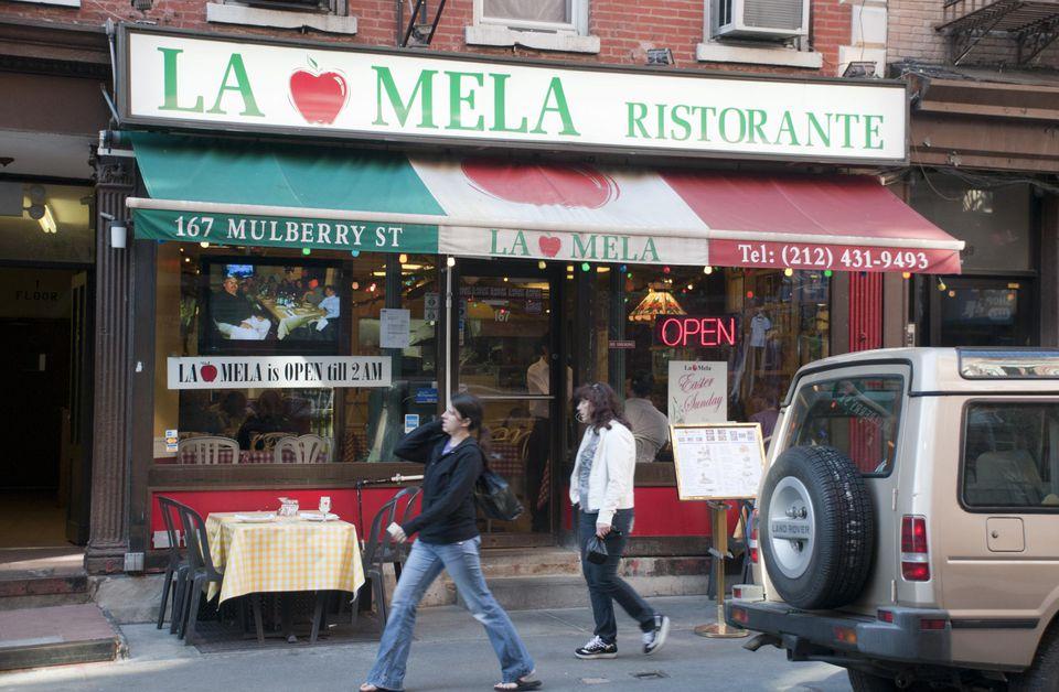 La Mela restaurant on Mulberry Street, Little Italy