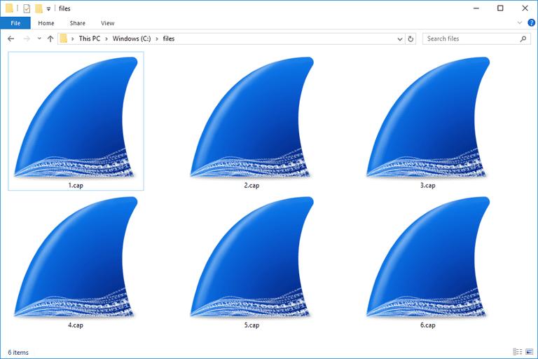 Screenshot of several Wireshark CAP files in Windows 10