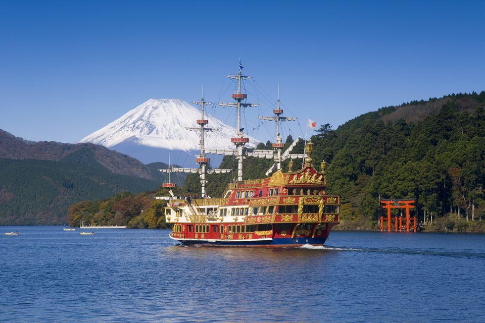 Mount Fuji and Lake Ashino-ko, Hakone, Fuji-Hakone-Izu National Park, Japan