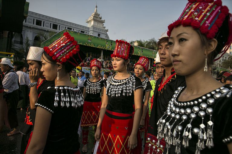 Kachin dancers prepare for Water Festival in Burma
