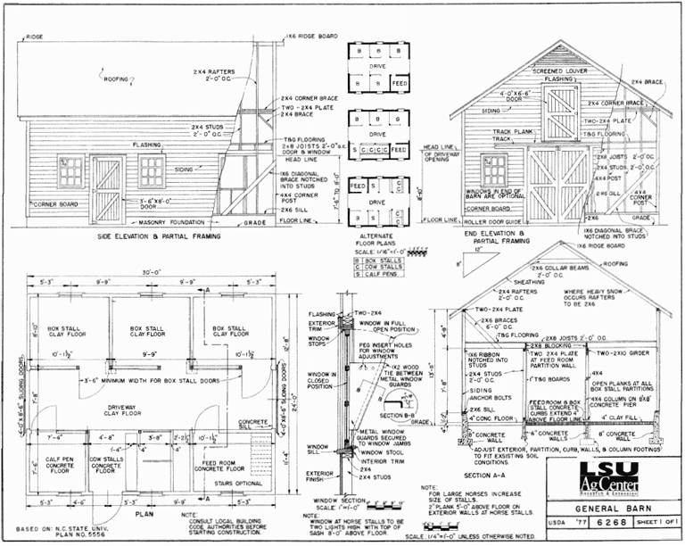 6 free barn plans for Bank barn plans