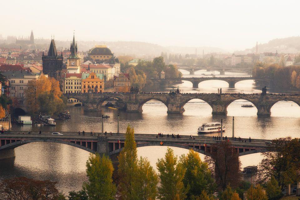 Autumn view over bridges of Prague.