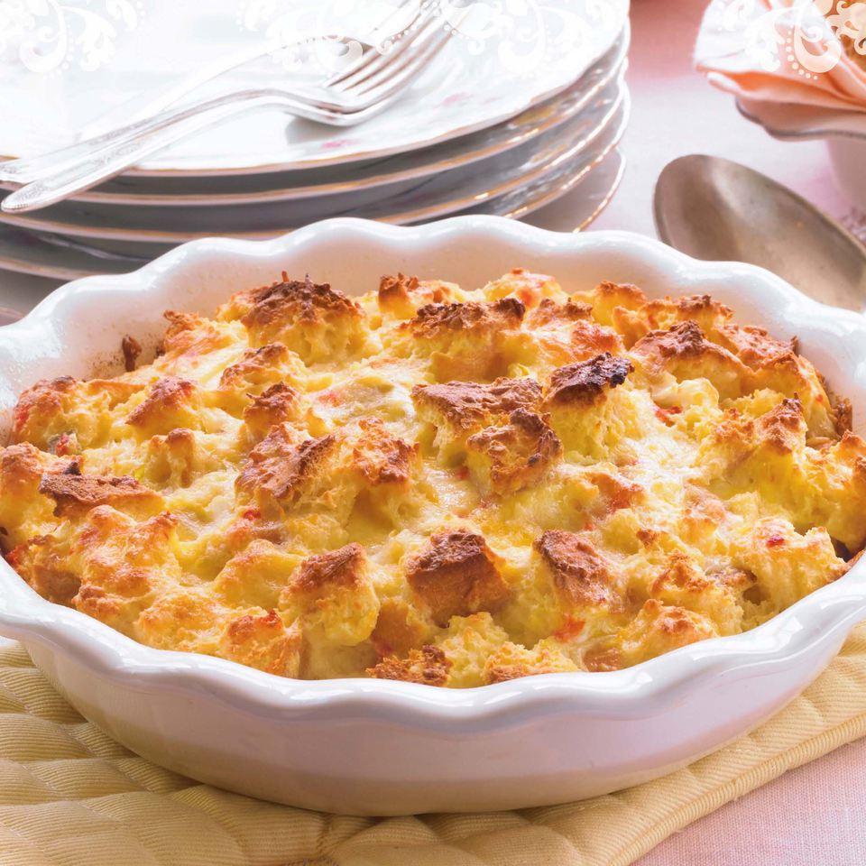 strata recipe, eggs, bread pudding, chiles, pimiento, receipts