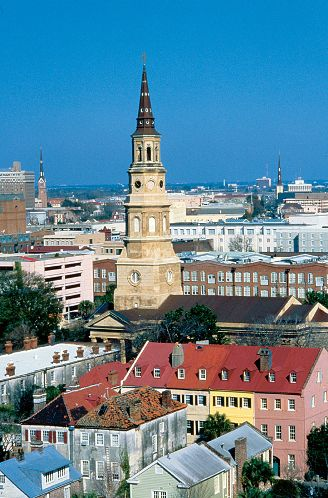 The St. Philip's Episcopal Church steeple can be seen from many points in and around Charleston.