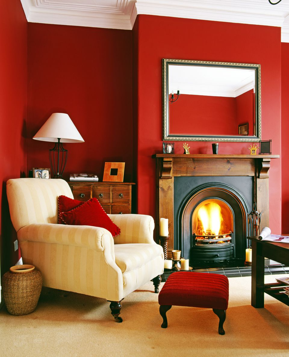 Living Room With Red Wall