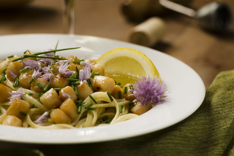 Bay Scallops over Linguine with Chive Lemon Butter Horizontal