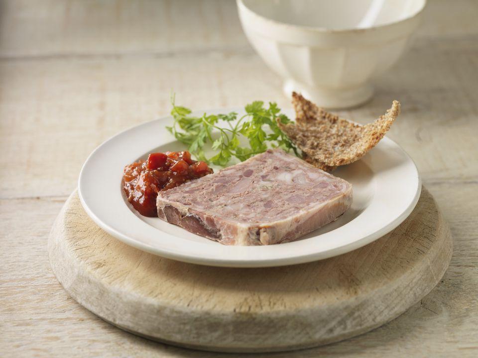 Plate of pork terrine with chutney