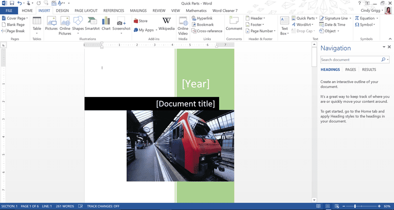 best cover page building blocks or quick parts for microsoft word