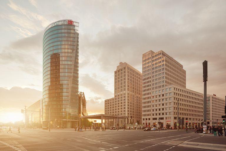 Berlin Potsdamer Platz with sunbeam