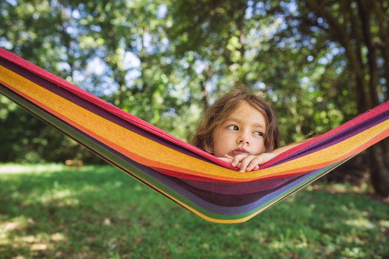 dehydrated girl in hammock outside