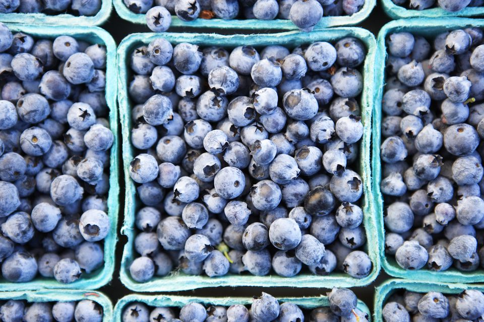 Close up of baskets of fresh blueberries at a Farmer's Market in San Francisco, California.