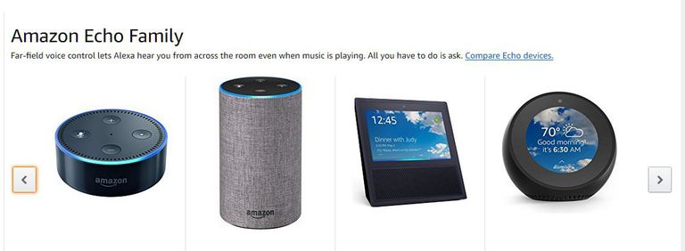 A screenshot of the various devices in the Amazon Echo family.