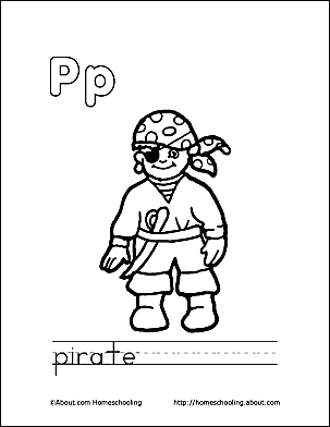 pirate coloring page letter p 3