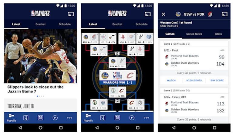 Screenshots of the NBA Android App.