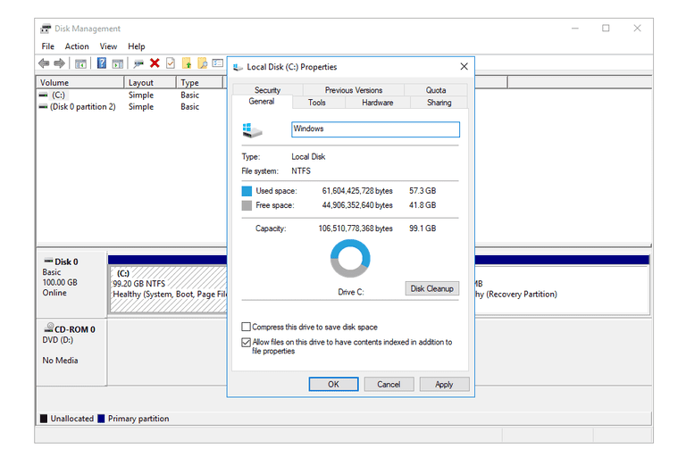Screenshot showing how to view and change the volume label through Disk Management