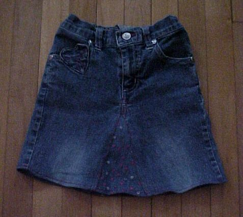 Skirt made from an old pair of jeans