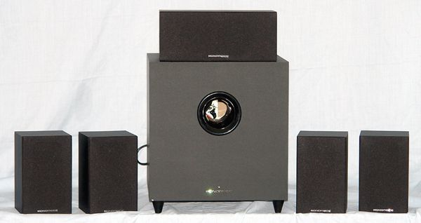 Monoprice 10565 5.1 Channel Speaker System - Photo - Front View - Grills On