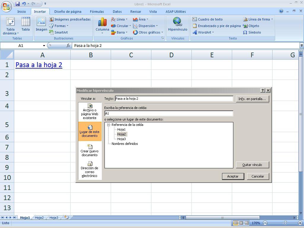 Enlaces con hipervínculos en Excel