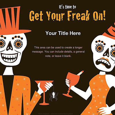 A Woman And Man Skeleton On Halloween Party Invite