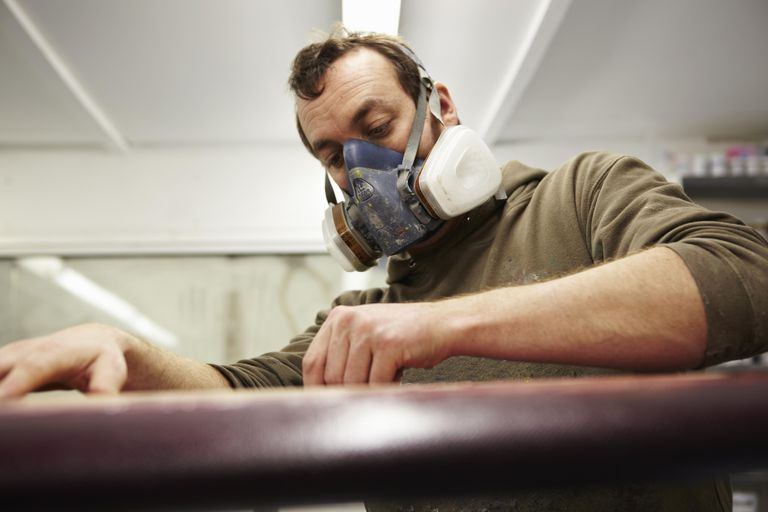 man with respiratory mask at work