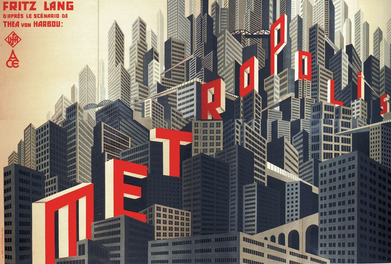 "Movie poster by Boris Konstantinovich Bilinsky of ""Metropolis"" Directed by Fritz Lang, 1926"