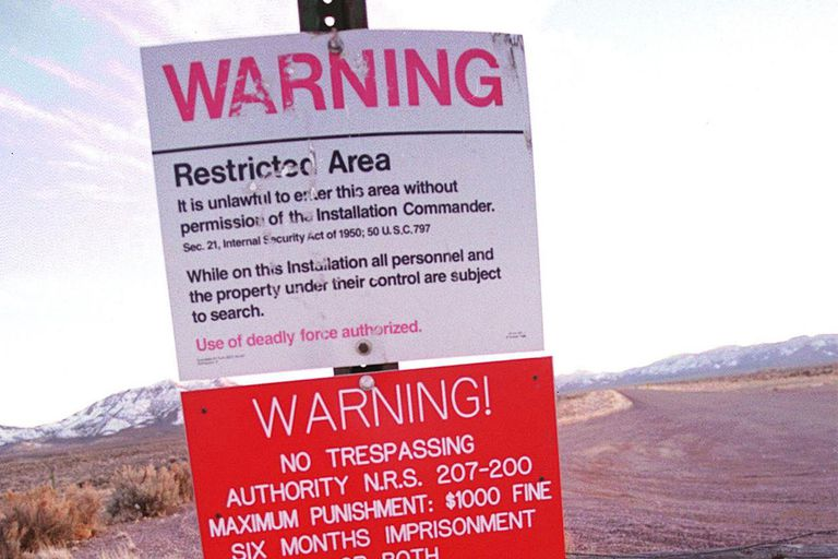 Warning Sign On Area 51 Border